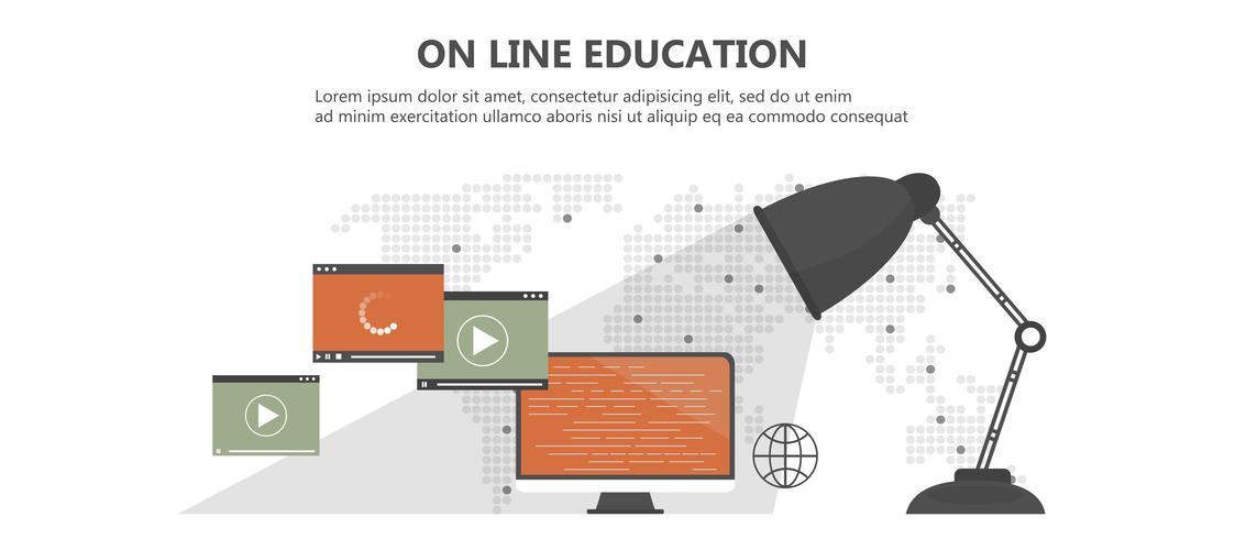 Istruzione, formazione, tutorial on line, concetto di e-learning. Computer portatile con formazione video on line sullo schermo, con icone. Illustrazione vettoriale piatto