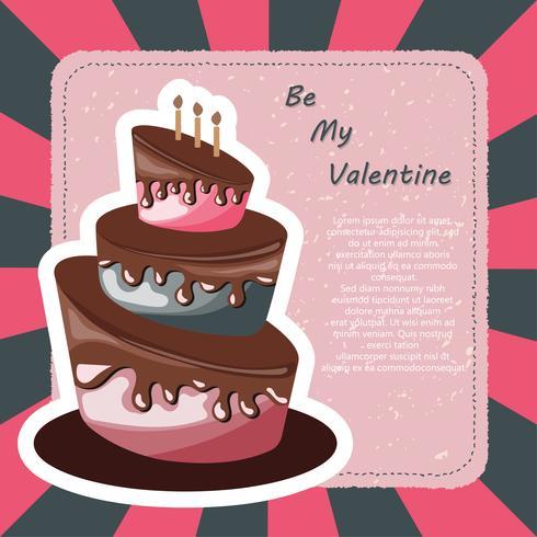 Carte de Saint Valentin et carte d'anniversaire avec un gâteau