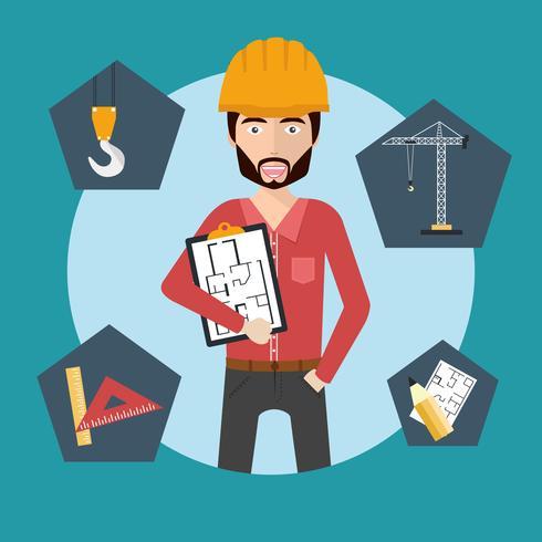 Ingenieur die zich met het document van het bouwplan bevindt
