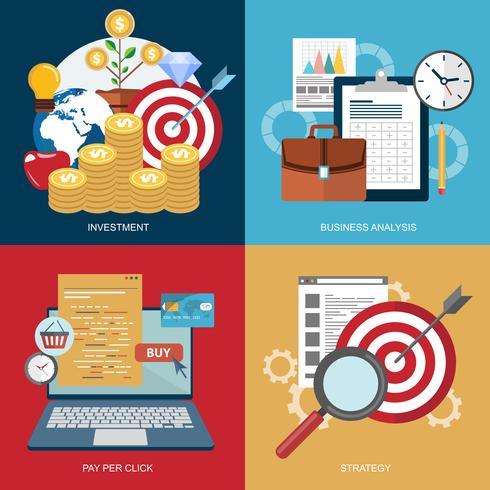 Concetto di investimento, analisi aziendale, pay per click e strategia