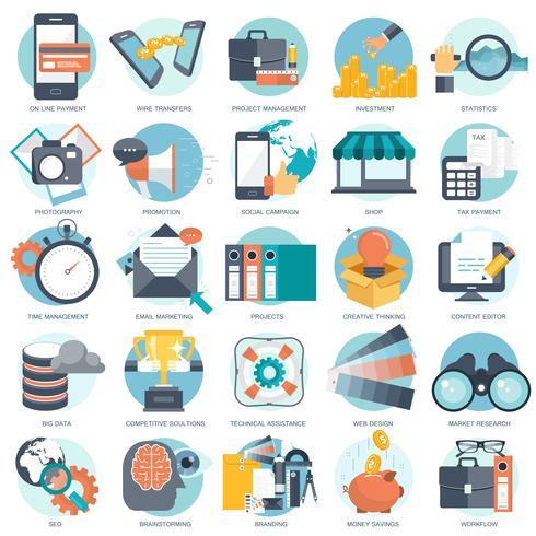 Jeu d'icônes commerciales, technologiques et financières pour sites Web, applications et services mobiles