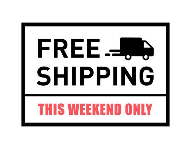 Livraison gratuite. Ce week-end seulement. Badge avec icône de camion.
