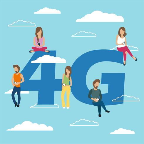 Gens avec des gadgets assis sur le gros symbole 4G