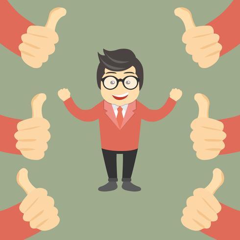 Concetto di complimento aziendale. Uomo d'affari felice e fiero con molti pollici in alto le mani intorno a lui