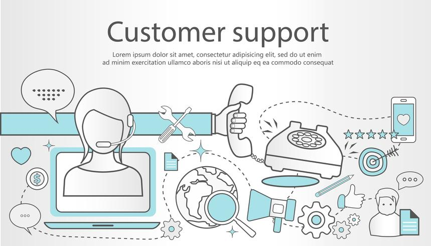 Support service concept banner. Flat design outline illustration with icons