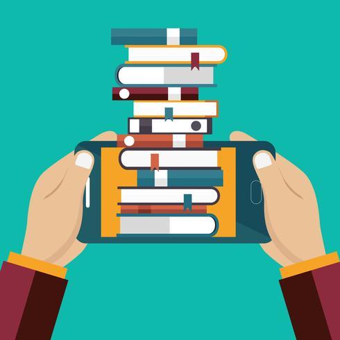 E-learning distante. Concetto di libro digitale. Concetto di educazione on line in stile piano