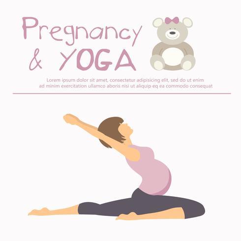 Concetto di gravidanza e yoga Donna incinta che fa poster di yoga