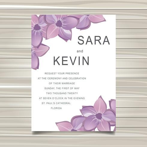 Invitation de carte de mariage avec décoration florale. Illustration vectorielle plane