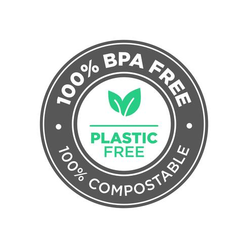 100 procent BPA fri. Plastfri. 100 procent kompostabel ikon.