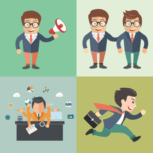 Icon set of businessmen with a tasks. Concept for multitasking, marketing, colleges and office work.