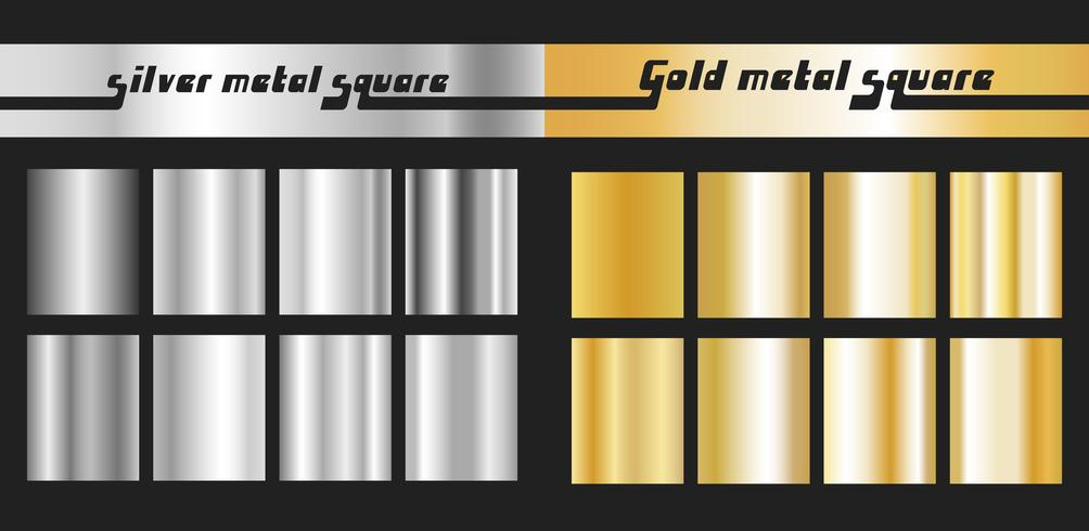 Set gold silver square vector