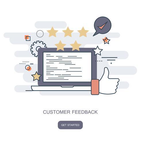 Note sur l'illustration du service client. Commentaires sur le site Web et concept d'évaluation. Illustration vectorielle plane