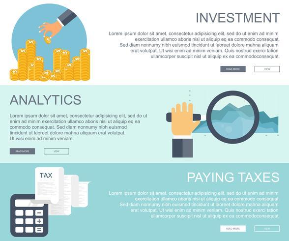 Concetti aziendali e finanziari. Investimenti, analisi di business, banner di imposte di pagamento