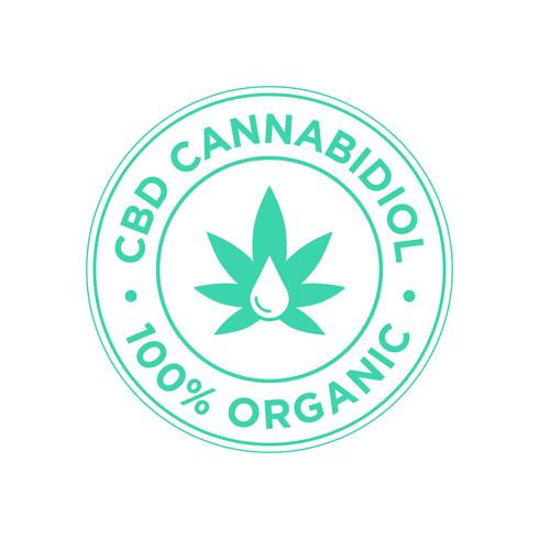 CBD Cannabidiol icon. 100 percent Organic.