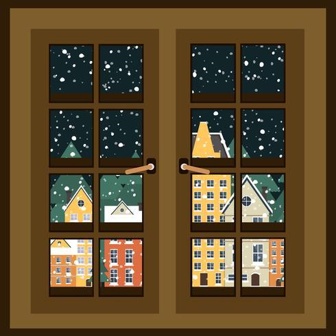 Paysage d'hiver. Vue depuis la fenêtre. Affiche du nouvel an. Hiver en village