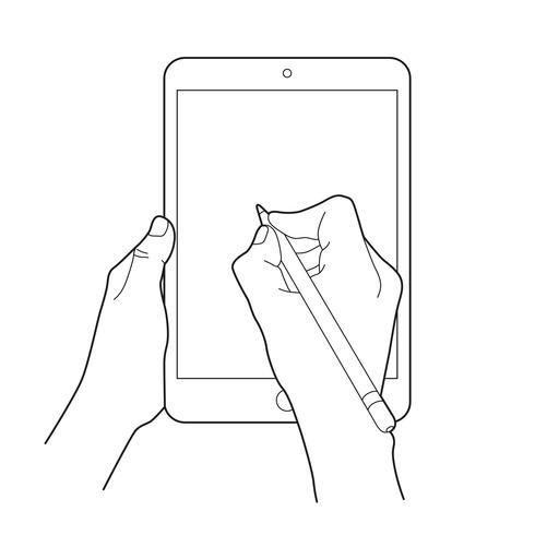 Handtekening met een elektronisch potlood op een apparaat van de tabletaanraking. Gebaar pictogram voor tablets.