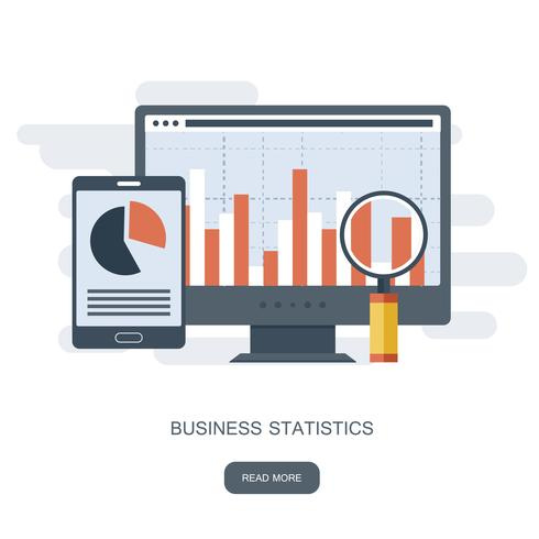 Statistics and business statement. Financial administration concept. Consulting for company performance, analysis concept. Flat vector illustration