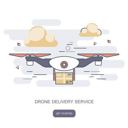 Consegna drone con il pacchetto. Concetto per il servizio di consegna. Illustrazione di vettore del profilo design piatto.