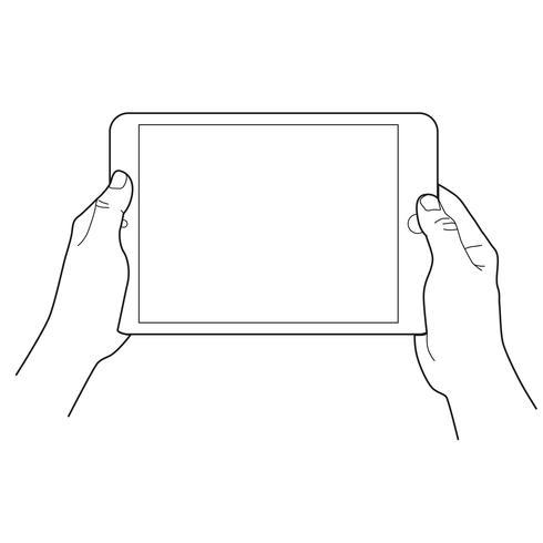 Mão segurando um tablet touch dispositivos.
