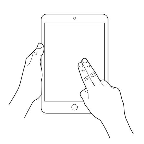 Gesture icon for tablet touch devices. Two finger.