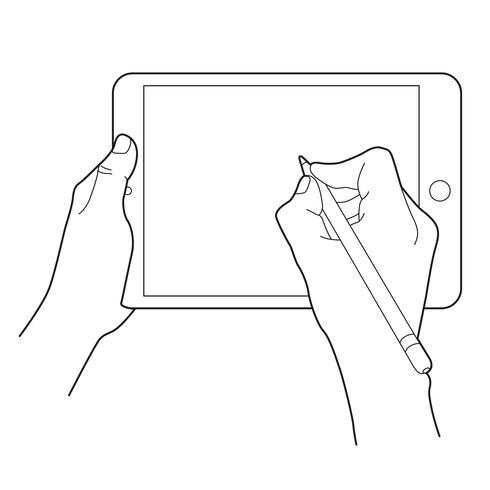 Disegno a mano con una matita elettronica su un dispositivo touch tablet. Icona di gesto per tablet.