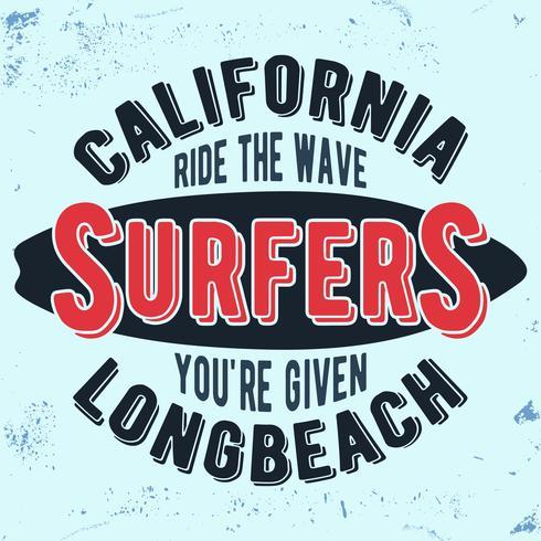 California surfers vintage stamp vector