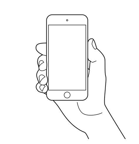 Mão segurando o smartphone.