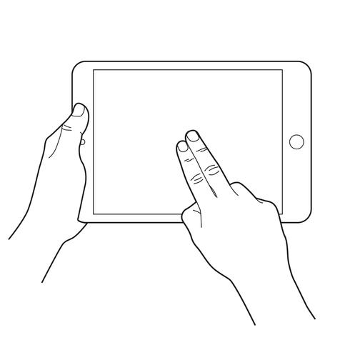 Icona di gesto per dispositivi touch tablet. Due dita