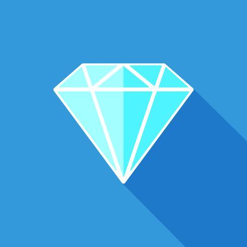 Ícone plano de diamante vetor