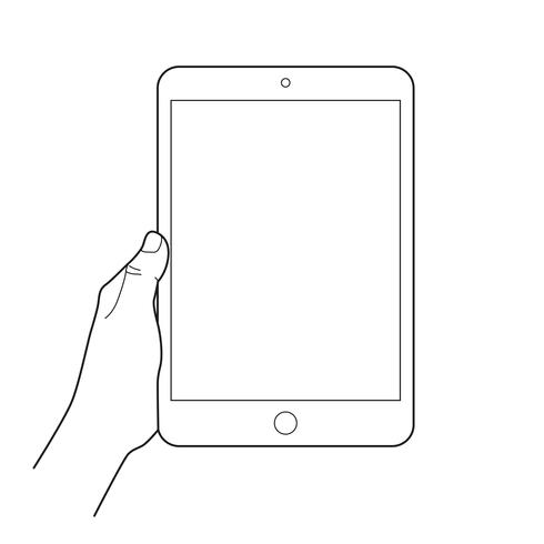 Hand holding a tablet touch devices.