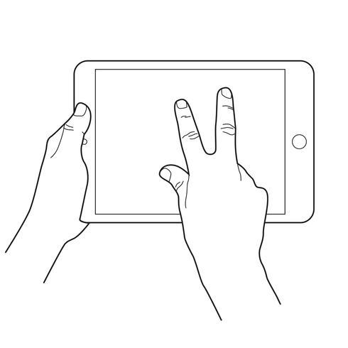 Zoom arrière icône de geste pour les appareils tactiles de la tablette.