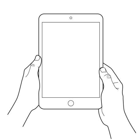 Mano che tiene un tablet touch dispositivi.