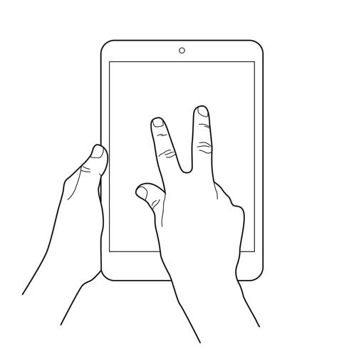 Zoom out gesture icon for tablet touch devices.