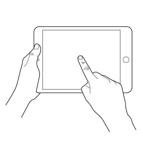 Handrührender leerer Bildschirm des Tablet-Computers.