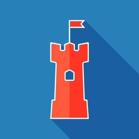 Torre plana ícone