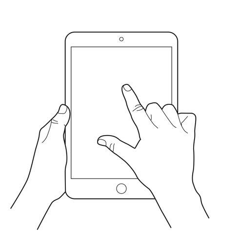 Esboço da mão segurando um tablet e dedo tocando a tela em branco, zoom de exibição de toque ou gire o gesto.