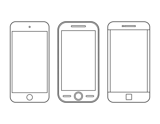Jeu d'icônes de contour de smartphone.