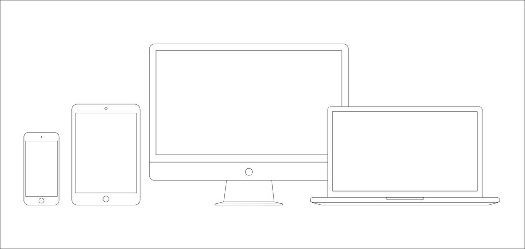 Set of electronic devices icons.