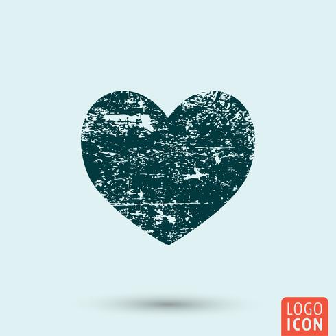 Grunge hjärta ikon vektor