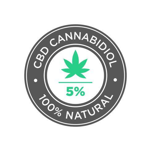 5 percento CBD Cannabidiol Oil icon. 100% naturale.
