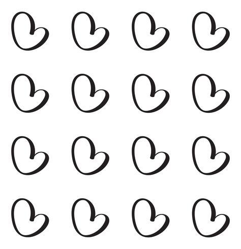 Modèle vectorielle continue avec un cœur calligraphique. Ornement pour la Saint Valentin. Illustration dessinée à la main Coups de pinceau isolés