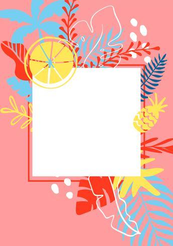 Modello di biglietto di estate con foglie tropicali su sfondo e posto per il testo. Modello illustrazione vettoriale