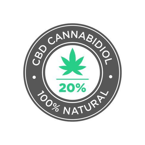 20 percento CBD Cannabidiol Oil icon. 100% naturale.