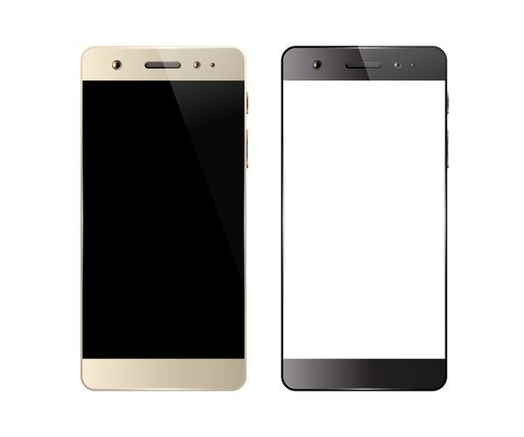 Två smartphones isolerade vektor