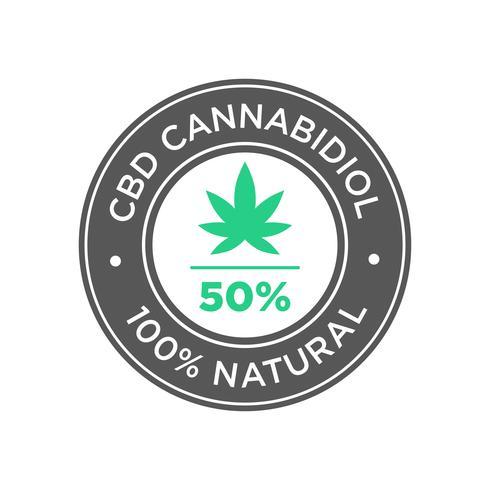 50 procent CBD Cannabidiol Oil ikon. 100 procent naturligt.