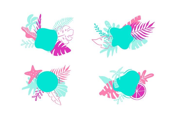 Vektor Sommerurlaub Urlaub Frameset. flaches Design mit tropischen Blättern und Platz für Text. Illustration kann Gebrauch für Gruß- und Einladungskartenhintergrund sein
