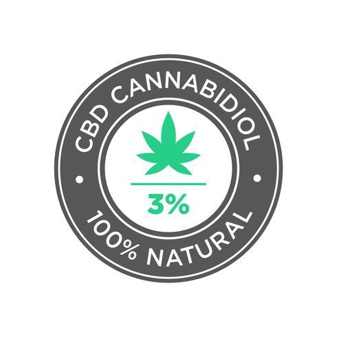 3 percento CBD Cannabidiol Oil icon. 100% naturale.