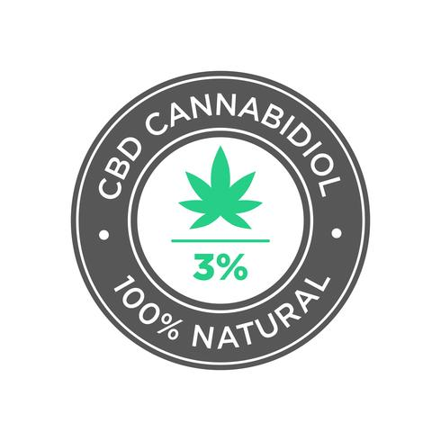 3 procent CBD Cannabidiol olie pictogram. 100 procent natuurlijk.
