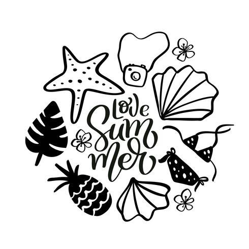 Calligraphie d'été de l'amour, lettrage de texte avec des éléments de voyage dessinés à la main. pastèque, feuilles, ananas et autres. Illustration vectorielle