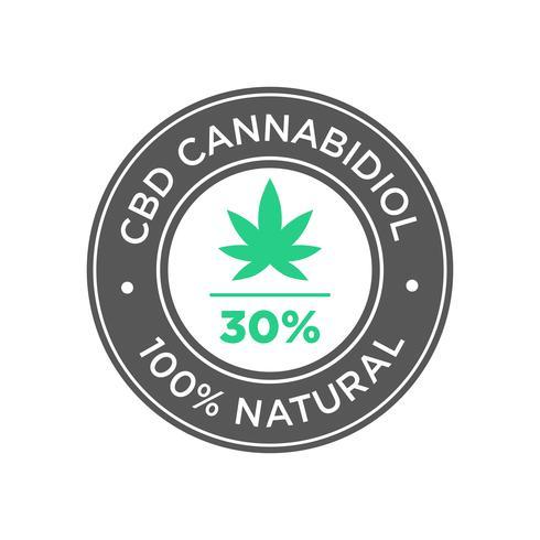 Icono del aceite de cannabidiol con 30 por ciento de CBD. 100 por ciento natural.